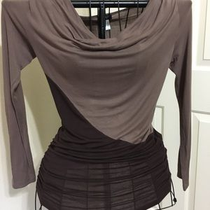 Brown cowl neck long sleeve top